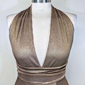 bebe Dresses - Bebe Metallic Halter Gown